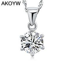 S925 plata seis garra sencilla cristal único colgante , collar coreano joyas de plata por mayor pendiente cristalino grande(China (Mainland))