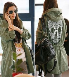 2016 european overcoat military woman winter lace jacket skull printed patchwork black green white hooded autumn parka