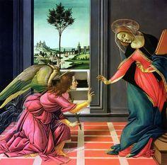 Anunciación. Botticelli. 1489.    Ave o Maria, piena di grazia, il Signore è con te, tu sei  benedetta fra le donne e benedetto il frutto del tuo seno, Gesù. Santa Maria, madre di Dio, prega per noi peccatori, adesso e nell'ora della nostra morte. Amen.