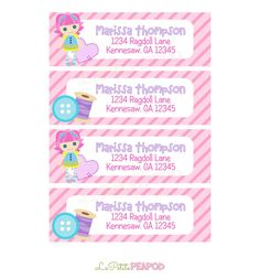 Kids Address Labels - Childrens Stationary - 12 Address Labels  Ragdoll and Buttons  Sewing by LePetitePeaPod