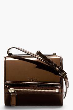 GIVENCHY Bronze Leather Pandora Box Mini Shoulder Bag