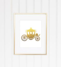 Carriage Print Fairytale Carriage Faux Gold Foil by MiaoMiaoDesign, $9.00