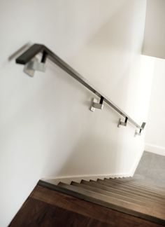 modern simple sleek wall mounted wooden handrails Stairs
