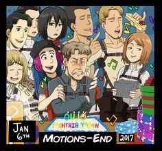 "I drew myself (blue-haired thing!) with characters from the anime, ""Attack on Titan"" (""Shingeki no Kyojin"") celebrating Oluo's BIRTHDAY! Drawn in the native style of the tv show/anime.  [ Tag ]  illustration art drawing digital wacom cintiq artist marco bott bodt armin arlert mikasa ackerman mako jean kirstein eld eldo jinn gunther schultz petra ral petura raru oruo bozado auruo bossard"