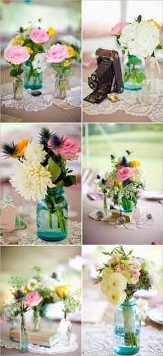 I love the jars of wildflowers, and old wedding photos :)
