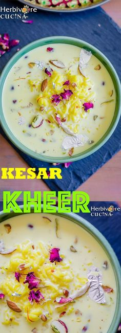 Herbivore Cucina: Kesar Kheer | Saffron Rice Pudding...An amazing blend of milk, rice and sugar. This delicious kheer (rice pudding) is flavored with saffron and full of nuts!   #KesarKheer #RicePudding #SaffronPudding #MilkSweets #IndianDesserts #IndianSweetDishes #NavratriMeals #GujaratiRecipe #HeirloomRecipes #IndianRicePudding #AreYouPuddingMe #OnePotMeal Indian Desserts, Indian Food Recipes, Vegetarian Recipes, Healthy Recipes, Indian Sweets, Indian Rice Pudding, Saffron Rice, Gujarati Recipes, Ramadan Recipes