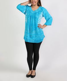 Love this Turquoise Lace-Trim Tunic - Plus Too on #zulily! #zulilyfinds