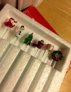 Vintage RH Macy Christmas Swizzle Sticks Hand Blown Glass Beauties Set of 6