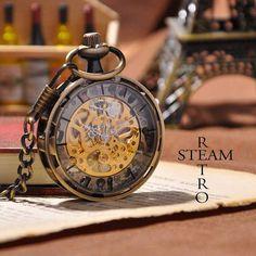 Men Vintage Pocket Watch Antique Watch Mechanical by SteamRetro