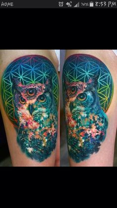 Galaxy rainbow owl tattoo