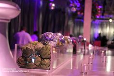 Artichokes and disco balls centerpiece-- perfect for a organically cool dance party