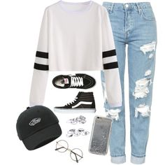 A fashion look from March 2017 featuring Topshop jeans, Vans sneakers and Vans hats. Browse and shop related looks.