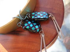 Beautiful Handmade Dichroic Glass Sterling Silver and Niobium Earrings on Etsy, $42.00