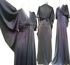 NOS 70s Vintage & new old stock with tags! Sexy Black Disco Studio 54 batwing kimono sleeve cape CAFTAN Maxi wrap empire waist black Dress S XS