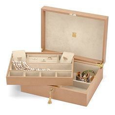 Aspinal of London Grand Luxe Jewellery Case In Deer Saffiano  Cream... ($1,080) ❤ liked on Polyvore featuring home, home decor, jewelry storage, accessories, red, italian jewelry box, suede jewelry box, ivory jewelry box, jewelry-box and square tray