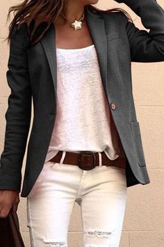 If you're looking for a casual wear, lapel coat look no further than this! Our casual coat will add an instant style upgrade to your closet. Casual Work Outfits, Mode Outfits, Work Casual, Casual Chic, Fashion Outfits, Womens Fashion, Casual Wear, Dress Outfits, Blazer Fashion