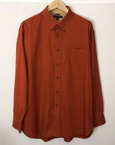 11d330b818 Tommy Hilfiger Button Front Pocket Shirt XL Long Sleeve Orange Red