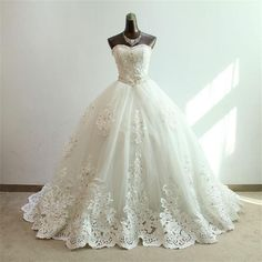 2016 Luxury Ball Gowns Long Wedding Dresses Sweetheart Sequins Crystals Lace Appliques Tulle Bridal Dress Wedding Gown-in Wedding Dresses from Weddings & Events on Aliexpress.com   Alibaba Group