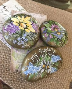Yellow Daisy Rock, Hand Painted Rock Art, Painted Stone Perfect for adding color to a potted plant. accent home or office. Makes a great gift to someone special..........maybe yourself. Tap +MORE for full description A bit about this Rock This rock was gathered from a well known