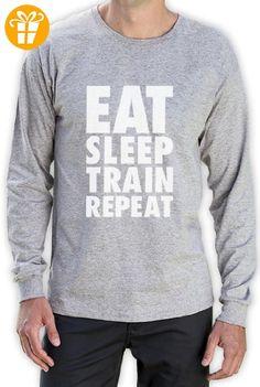 EAT SLEEP TRAIN REPEAT Langarm Grau XX-Large T-Shirt (*Partner-Link)