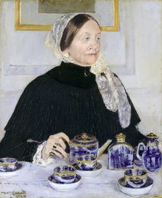 Mary Cassatt (American, 1844–1926). Lady at the Tea Table, 1883–85. The Metropolitan Museum of Art, New York. Gift of Mary Cassatt, 1923 (23.101). The sitter of this painting is Mrs. Robert Moore Riddle (died 1892). Riddle's daughter objected to the size of her mother's nose in the picture, and hence, it was put away by the artist until 1914. #noses #Connections