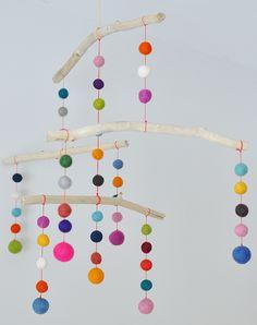 Boho Deco Chic: DIY: Guirnalda de bolas de fieltro de colores
