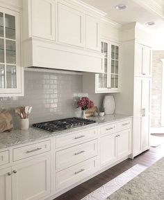 white shaker cabinets painted BM white dove, LG Everest quartz with gray backspl. white shaker cabinets painted BM white dove, LG Everest quartz with gray backsplash Kitchen Cabinet Door Styles, White Shaker Kitchen Cabinets, Kitchen Cabinet Remodel, Grey Cabinets, Kitchen Cabinets With Glass Doors On Top, Kitchen Cabinet Refacing, Kitchens With White Cabinets, White Kitchen Cabinet Doors, Modern Shaker Kitchen