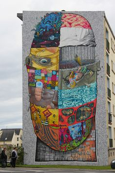 The DMV (Da Mental Vaporz) crew collaborated in painting this large mural for the French urban art event, Crimes of Minds.  The roll call of contributors includes Avec Dran, Bom K, Sowat, Kan, Brusk, Bio, and Gris Et Jaw.  Europe's continued support for public art and events is refreshing, contrary to the city-funded censorship the art community in Los Angeles is currently facing.