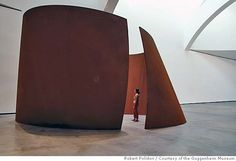 Can cold, hard steel turn sinuous? Richard Serra's enormous minimalist sculptures snake through space, time. Picture Courtesy: Richard Serra, Torqued Ellipse, 2003-4, weatherproof steel. More: http://www.gagosian.com/artists/richard-serra/