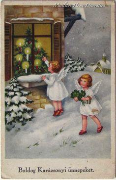 Vintage Hungarian Christmas postcard with little angels Mary Christmas, Vintage Christmas, Christmas Cards, Christmas Tree, Christmas Postcards, Vintage Greeting Cards, Christmas Pictures, Painting, Crochet Wraps