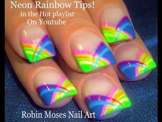 Nail Art Tutorial   DIY Neon Rainbow Stripe Nails   Short Summer Nail Design - YouTube