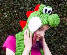 Yoshi Inspired Scoofie - Cartoon Dinosaur Wooly World Style Hooded Scarf - Crocheted Acrylic Yarn, Custom Colors Available - Nintendo Geek by pinkavenger on Etsy https://www.etsy.com/listing/254877008/yoshi-inspired-scoofie-cartoon-dinosaur