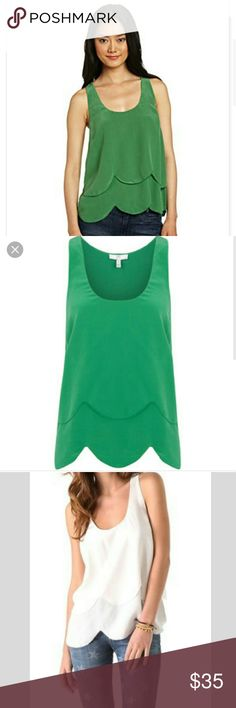 Joie Silk Scalloped Green Tank Ruffle Layered 100% Silk top by Joie. Preworn but in great condition. Adorable scalloped trim detail. Comes in the beautiful green color Joie Tops Tank Tops
