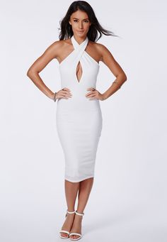 Missguided - Ribbed Cross Over Midi Dress White
