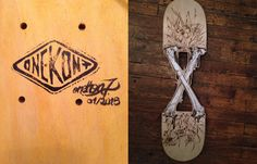 Odyssée tour - acrylic and pyrography on skateboard - woodcut by hand  http://onekon7.fr/portfolio/odyssee-tour/