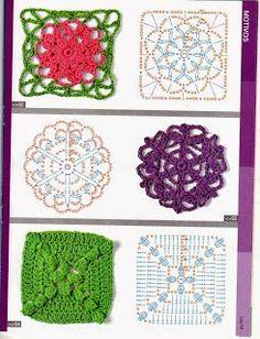 crochet stitch No 1 - designs) Basic Crochet Stitches, Crochet Squares, Crochet Patterns, Granny Squares, String Art Tutorials, Crochet Carpet, Ribbon Design, Irish Lace, Drops Design