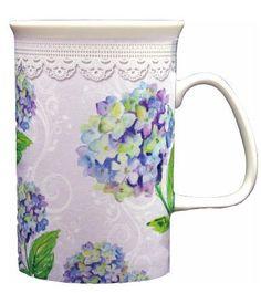 Hydrangea Bone China Mug is dish washer and microwave safe. Gift boxed.