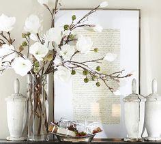 Faux Flocked Magnolia Stem