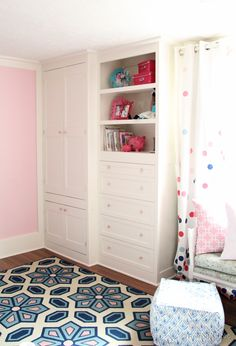 You will not believe how Cassity took an existing armoire dresser and turned it into this! How to build a built-in closet, built-ins from existing furniture upcycle Remodelaholic .com Better Homes and Gardens Armoire Dresser, Built In Dresser, Built In Desk, Closet Dresser, Ikea Dresser, Dressers, Closet Built Ins, Built In Wardrobe, Wardrobe Closet
