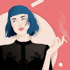 Smoking woman by Sarah Lahlou