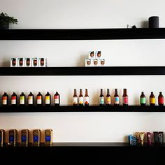 New shelving at Cupple in Hastings. Simple but effective. Can't say I had a lot of input in this other than to bounce a few ideas off, but love the outcome. carbon steel with powdercoat in Dulux Black Satin Custom Shelving, Black Satin, Wine Rack, Liquor Cabinet, Things That Bounce, Steel, Canning, Simple, Instagram
