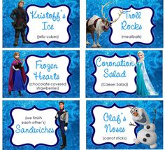 CUSTOMIZED Food Labels Disney Frozen by TreFratelliParties