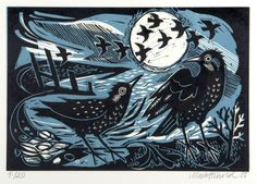 "Mark Hearld ""Starlings on the Shore"" Editioned at the Penfold Press, linocut Linocut Prints, Art Prints, Block Prints, Glasgow School Of Art, Starling, Wood Engraving, Woodblock Print, Bird Art, Celestial"