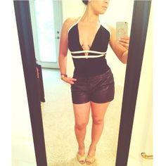 NEW body suit✨(L) Black leotard with 2 white stripes across chest area. True size ✅ Rehab Tops
