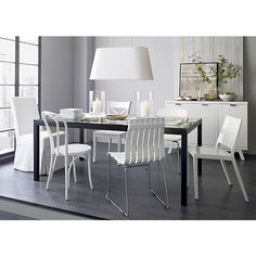 Parsons Glass Top 72x42 Dining Table with Natural Dark Steel Base in Dining Tables | Crate and Barrel $789