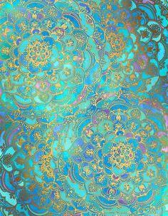 Sapphire & Jade Stained Glass Mandalas Art Print
