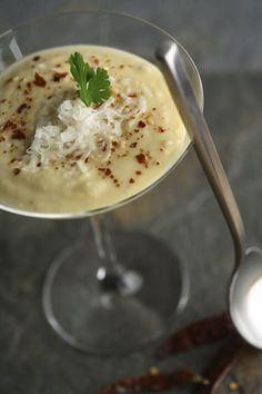 Yellow Pea Soup with Chilis and Goat Cheese