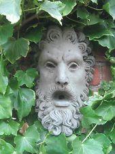 face outdoor water fountain   STONE GARDEN MAN FACE GOD WALL WATER FEATURE GREEN MAN PLAQUE ORNAMENT
