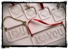 Love Tokens by Waci Glass Kiln carved ornaments, tags, or sun catchers - would be cute hanging on wine bottles or gifts
