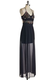 One Vine Day Dress. Embrace the essence of nature with this deep navy maxi dress. #blue #modcloth